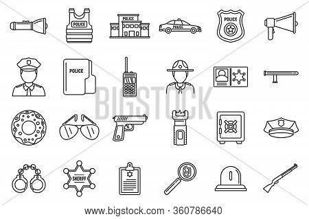 Police Station Equipment Icons Set. Outline Set Of Police Station Equipment Vector Icons For Web Des