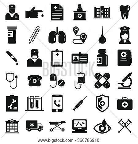 Private Clinic Icons Set. Simple Set Of Private Clinic Vector Icons For Web Design On White Backgrou