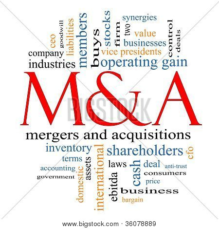 M & A (mergers And Acquisitions) Word Cloud Concept