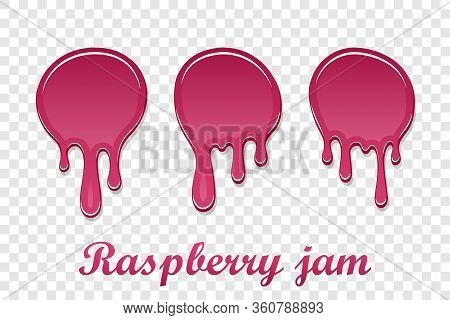 Red Raspberry Drip Confiture 3d Set. Berry Sweet Jam Spot Isolated White Transparent Background. Dri