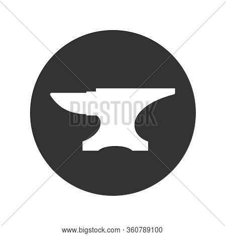 Anvil For Blacksmith Graphic Icon. Anvil Sign In The Circle Isolated On White Background. Smithy Sym