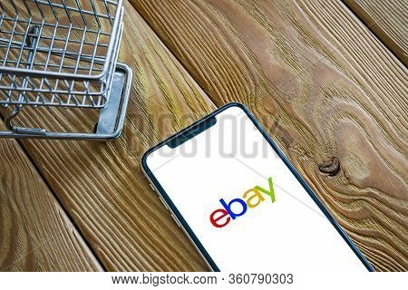 Saint-petersburg, Russia - 10 April 2020: Phone Screen With Ebay App Loading Logo, Ebay Is One Of Th
