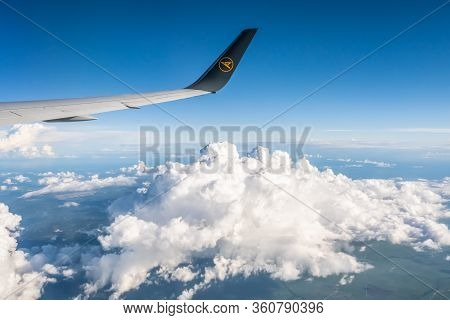 Frankfurt Germany 18.11.19 Condor Air Wing Of Airplane In The Sky Winglet Blue Sky Clouds