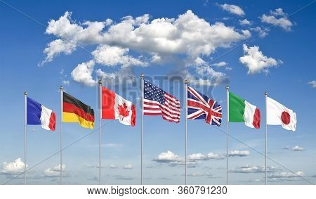 G7 Flags . Silk Waving Flags Of Countries Of Group Of Seven :  Germany, Canada, Usa , Italy, France,
