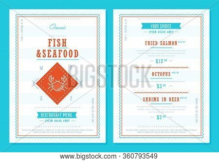 Seafood Menu Design. Fish Restaurant Menu Layout Design Brochure Or Food Flyer Template. Seafood Bro