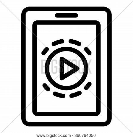 Tablet Play Clip Icon. Outline Tablet Play Clip Vector Icon For Web Design Isolated On White Backgro