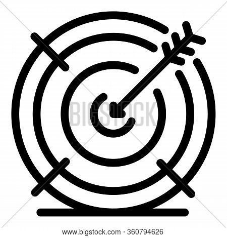 Reached Goal Icon. Outline Reached Goal Vector Icon For Web Design Isolated On White Background