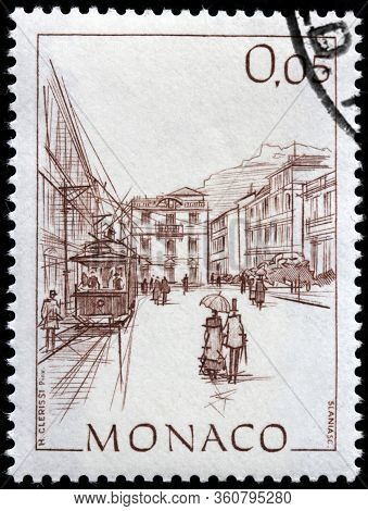 Luga, Russia - April 10, 2020: A Stamp Printed By Monaco Shows View Of Visitation Square In Monte Ca