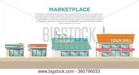 Illustration Of Various Marketplace Store Buildings. Shop And Trade Business Building From The Front