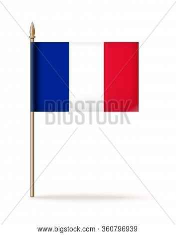 Flag Of France Icon. The National Flag Of France On A Golden Flagpole. Vector Illustration Isolated
