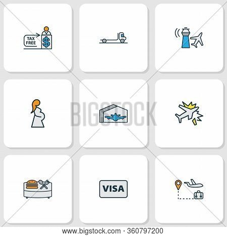 Transportation Icons Colored Line Set With Flatbed Truck, Travel Tour, Food Court And Other Cashier