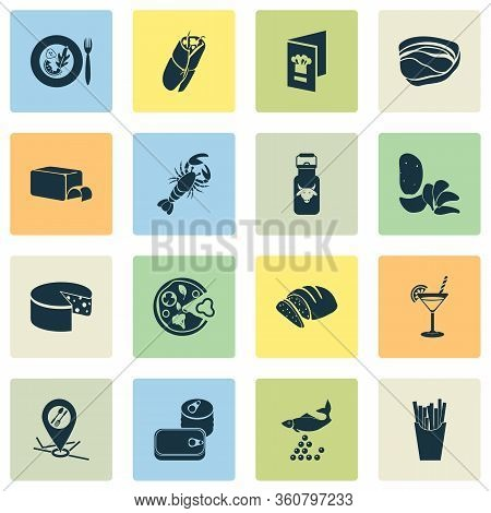 Eating Icons Set With Canned Food, Butter, Milk Can And Other Pizzeria Elements. Isolated Vector Ill