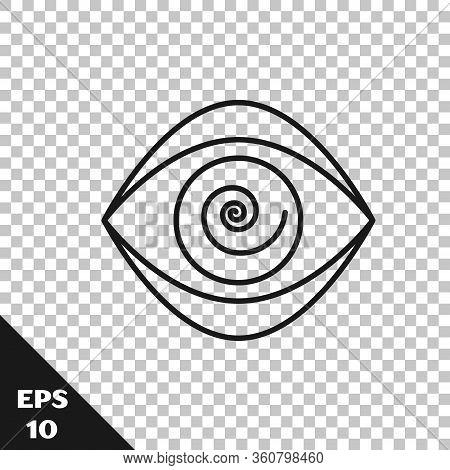 Black Line Hypnosis Icon Isolated On Transparent Background. Human Eye With Spiral Hypnotic Iris. Ve