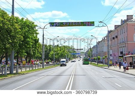 Gomel / Belarus - May 20, 2018 : Street In Belarusian City Of Gomel. City Street With House With Bal