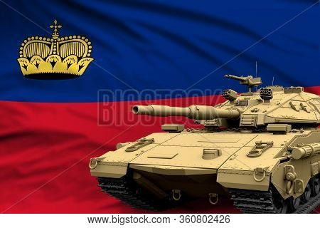 Heavy Tank With Fictional Design On Liechtenstein Flag Background - Modern Tank Army Forces Concept,