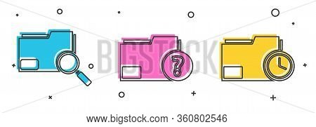 Set Search Concept With Folder, Unknown Document Folder And Document Folder With Clock Icon. Vector