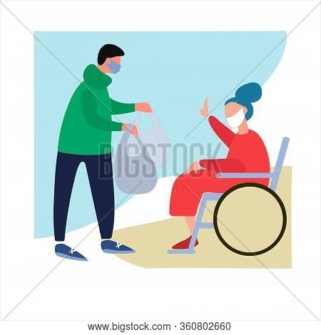 Volunteer Helps Disabled Old Woman With Shopping. Social Work During Quarantine. Covid-19 Awareness