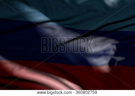 Wonderful Picture Of Dark Luhansk Peoples Republic Flag With Folds Lie In Shadows With Light Spots O
