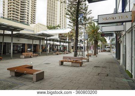 Surfers Paradise, Australia - April 8, 2020: Coronavirus Lockdown Empty Streets Of Iconic Cavill Ave