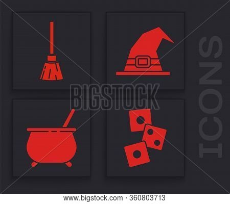 Set Game Dice, Witches Broom, Witch Hat And Witch Cauldron Icon. Vector