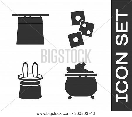 Set Witch Cauldron, Magician Hat, Magician Hat And Rabbit Ears And Game Dice Icon. Vector