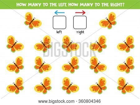 How Many Butterflies Fly To The Left And How Many To The Right. Counting Game For Kids.