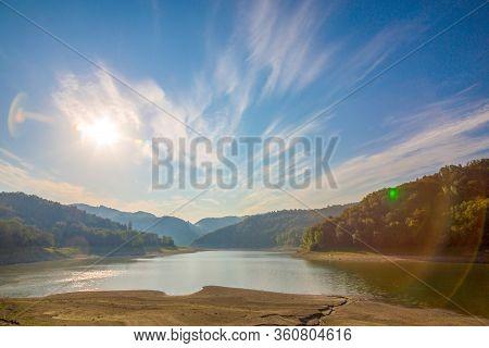 Lake Of Salto. The Sky On Lake Del Salto.  Lago Del Salto In The Province Of Rieti In Lazio In Italy