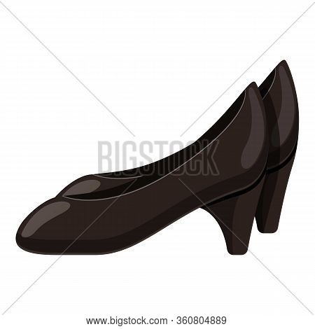 Black Woman Shoes Icon. Cartoon Of Black Woman Shoes Vector Icon For Web Design Isolated On White Ba