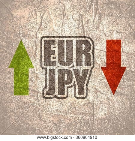 Financial Market Trading Concept. Currency Pair. Acronym Jpy - Japanese Yen Currency. Acronym Eur -