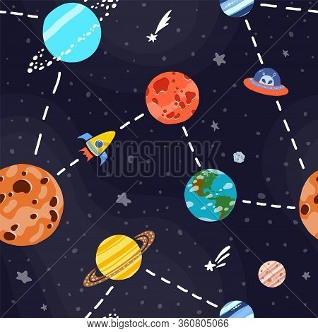 Cosmic Fabric For Kids. Space Exploration Concept. Cute Design For Kids Fabric And Wrapping Paper. B