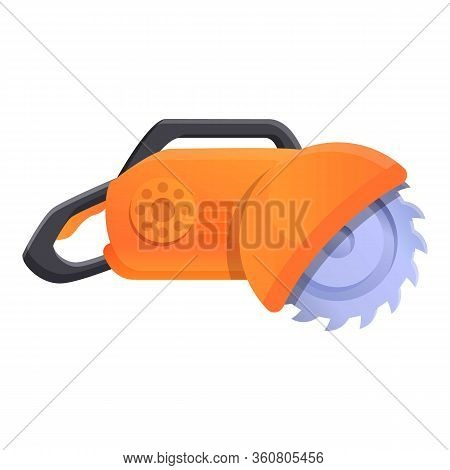 Saw Cutter Machine Icon. Cartoon Of Saw Cutter Machine Vector Icon For Web Design Isolated On White