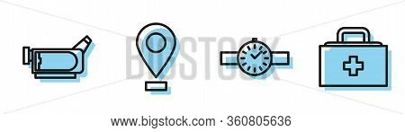 Set Line Wrist Watch, Cinema Camera, Location And First Aid Kit Icon. Vector