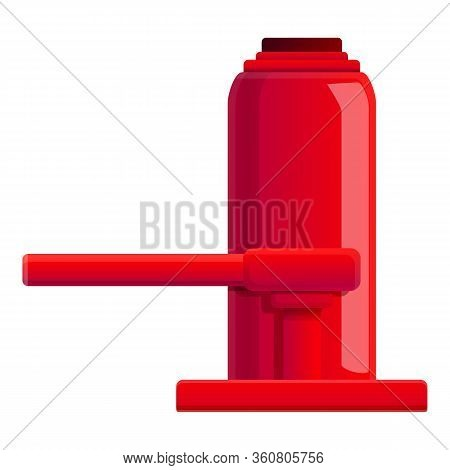 Red Car Jack Icon. Cartoon Of Red Car Jack Vector Icon For Web Design Isolated On White Background