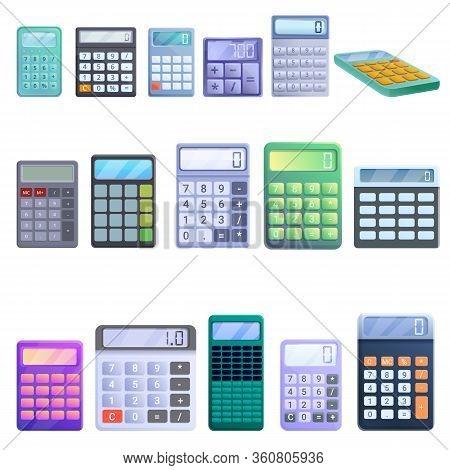Calculator Icons Set. Cartoon Set Of Calculator Vector Icons For Web Design