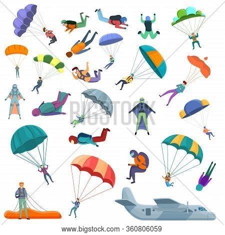 Parachuting Icons Set. Cartoon Set Of Parachuting Vector Icons For Web Design