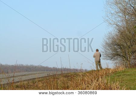 man in a road