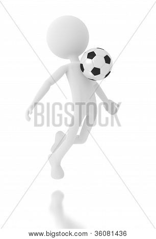 3D Person Soccer Player With A Ball.