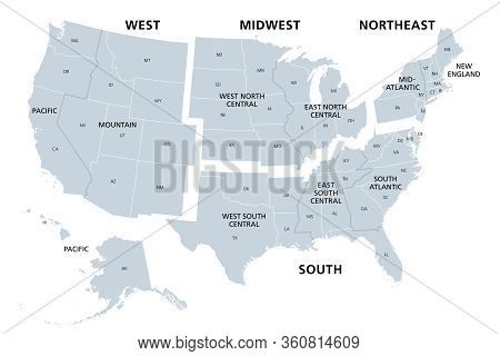 United States Divided In Census Regions And Divisions, Gray Map. Region Definition Used For Data Col