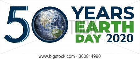 April 22, Earth Day Big Poster, 50 Years Old, The Inscription On The Poster On The Background Of The