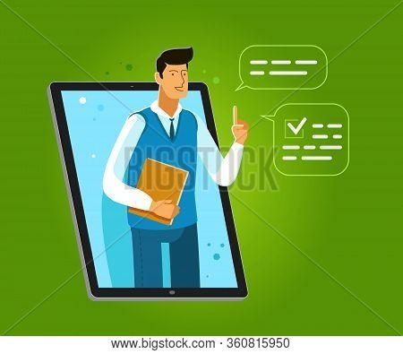Learning Provided Through An Application On Laptop. Business, Advisory Service Vector Illustration