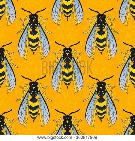 Wasps In Black Color. Wasp Pattern. Seamless Vector Pattern With Insects, Symmetrical Background Wit