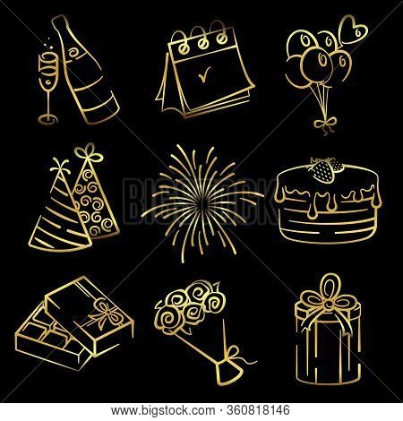 Contour Vector Holiday Icons. Isolated Icons Of Caps, Gift, Cake, Box Of Chocolates, Fireworks, Bouq
