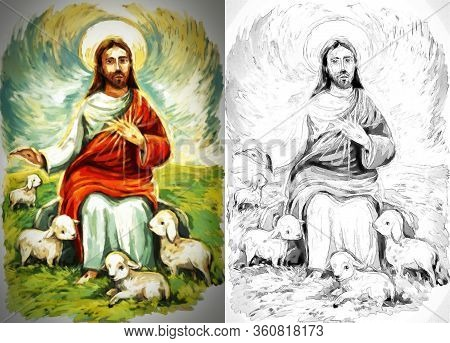 Calm Jesus Messiah With The Lamb And Resurrection With Nature