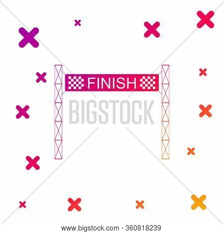 Color Ribbon In Finishing Line Icon Isolated On White Background. Symbol Of Finish Line. Sport Symbo