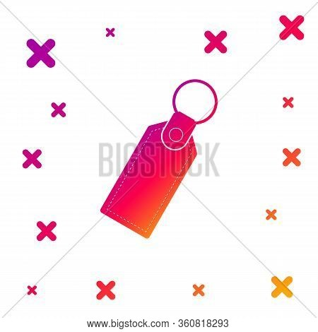 Color Rectangular Key Chain With Ring For Key Icon Isolated On White Background. Gradient Random Dyn