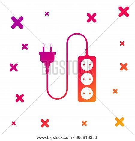 Color Electric Extension Cord Icon Isolated On White Background. Power Plug Socket. Gradient Random