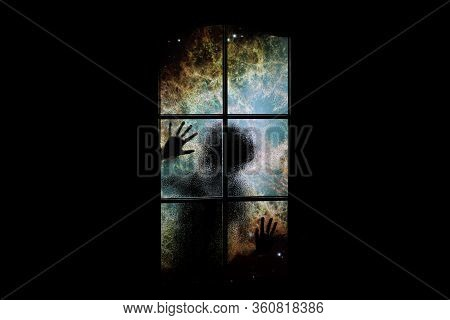 Soul In Outer Space With Nebula And Many Stars Behind Closed Door. Сhild Locked In Dark Room In Nigh