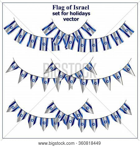 Set With Flags Of Israel With Folds. Day Of Israel Collection. Bright Illustration With Flags. Vecto