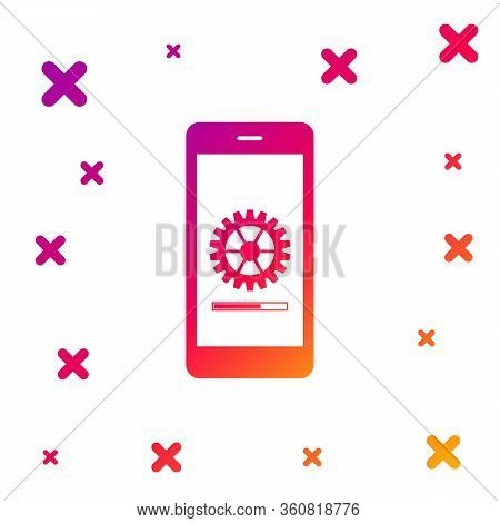 Color Smartphone Update Process With Gearbox Progress And Loading Bar Icon Isolated On White Backgro
