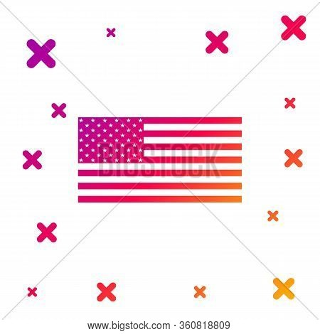 Color American Flag Icon Isolated On White Background. Flag Of Usa. Gradient Random Dynamic Shapes.